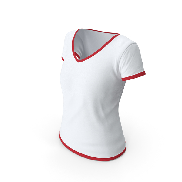 T Shirt: Female V Neck Worn With Tag White and Red PNG & PSD Images