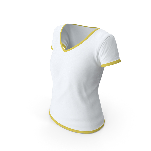 T Shirt: Female V Neck Worn With Tag White and Yellow PNG & PSD Images