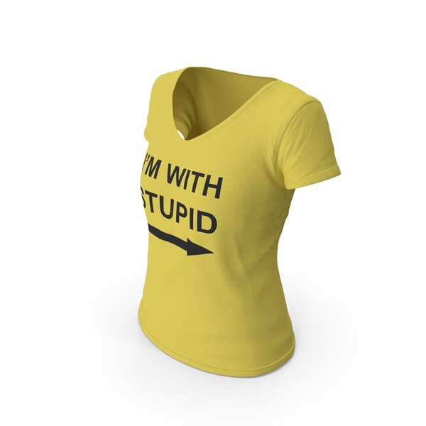 T Shirt: Female V Neck Worn With Tag Yellow Im With Stupid PNG & PSD Images