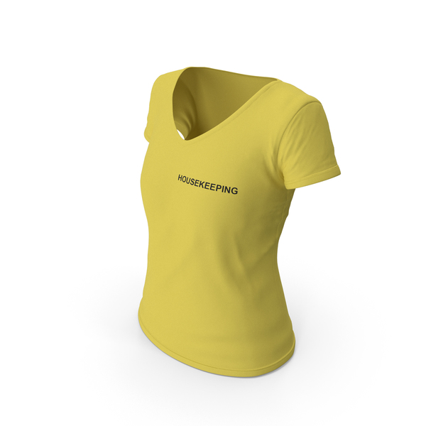 T Shirt: Female V Neck Worn Yellow Housekeeping PNG & PSD Images