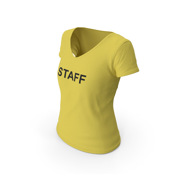 T Shirt: Female V Neck Worn Yellow Staff PNG & PSD Images