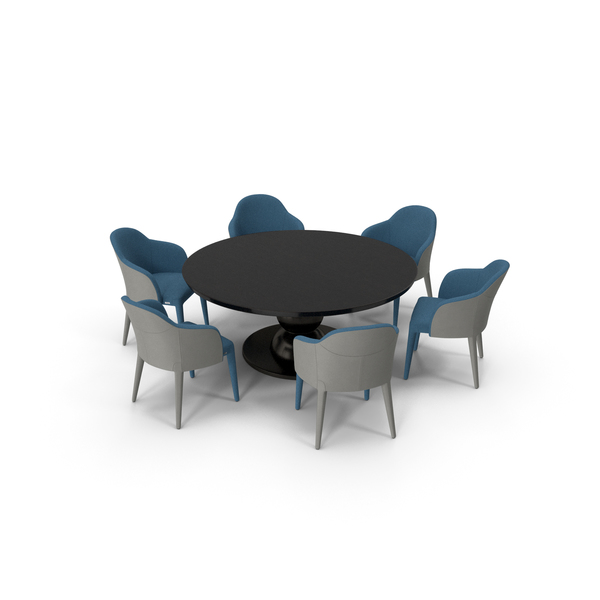 Fendi Table Chair Set Black Blue PNG & PSD Images