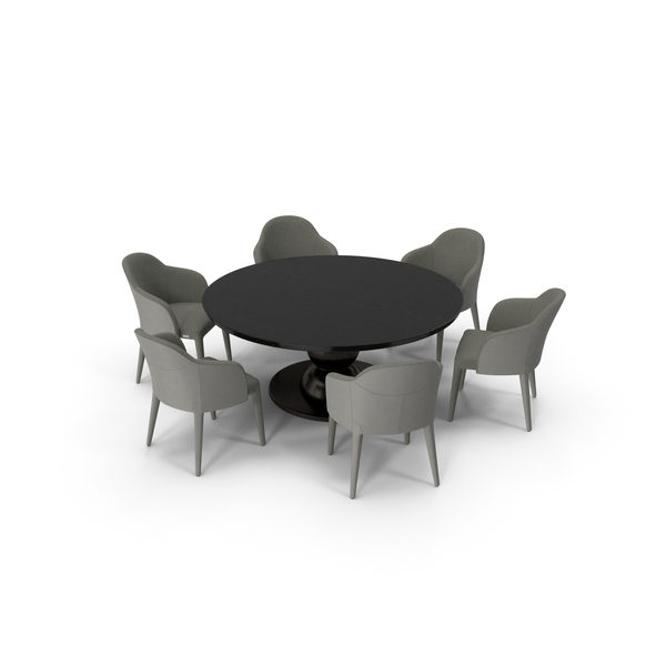 Dining: Fendi Table Chair Set Black Cream PNG & PSD Images