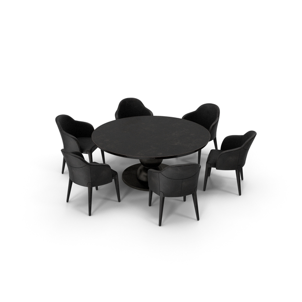 Fendi Table Chair Set Black Damaged PNG & PSD Images