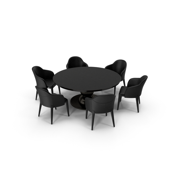 Fendi Table Chair Set Black PNG & PSD Images