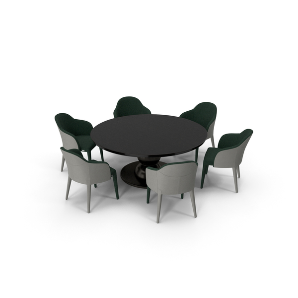 Fendi Table Chair Set Black Green PNG & PSD Images