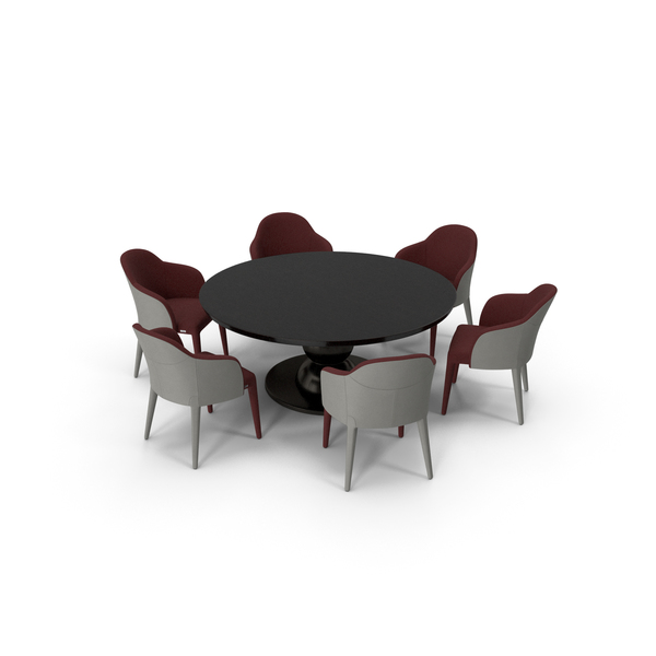Fendi Table Chair Set Black Red PNG & PSD Images
