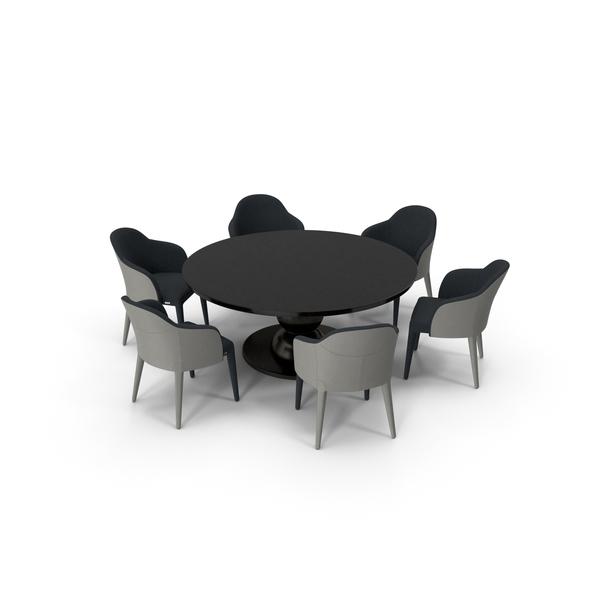 Fendi Table Chair Set Black PNG & PSD Images