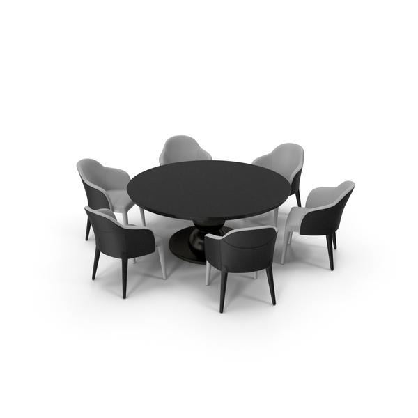 Fendi Table Chair Set Black White PNG & PSD Images