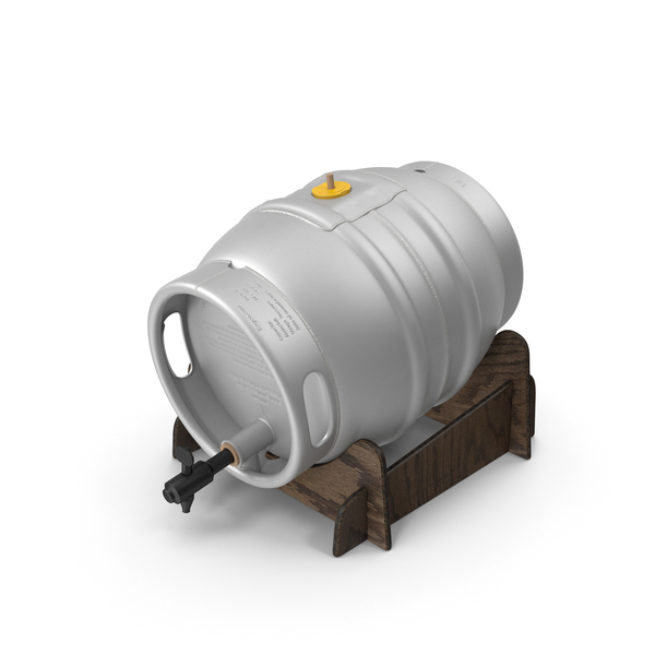 Beer Keg: Firkin Metal Cask on Wooden Stillage PNG & PSD Images