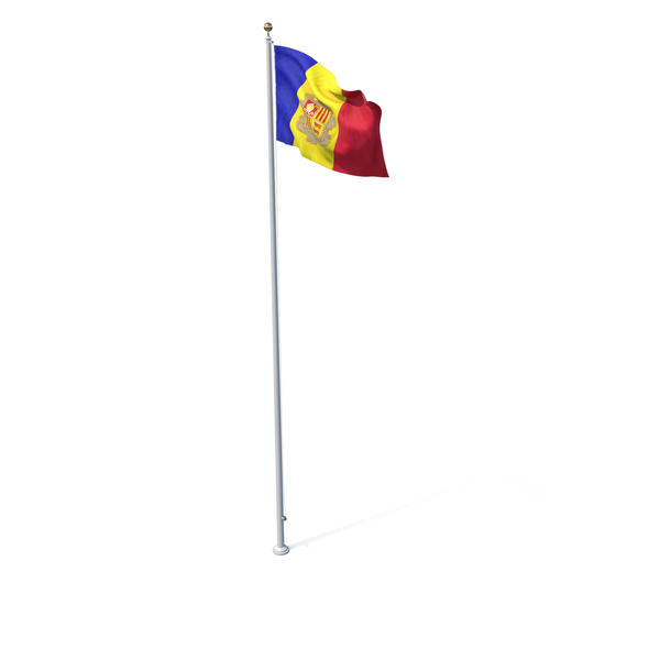 Flag On Pole Andorra PNG & PSD Images