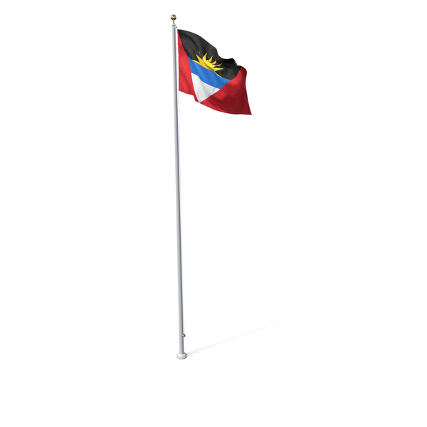 Flag On Pole Antigua and Barbuda PNG & PSD Images