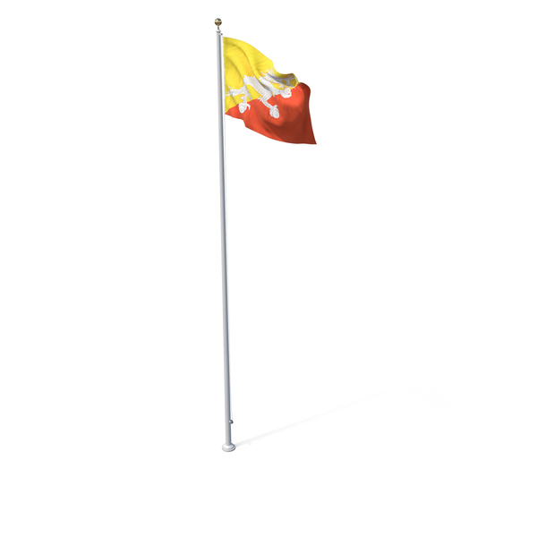 Flag On Pole Bhutan PNG & PSD Images