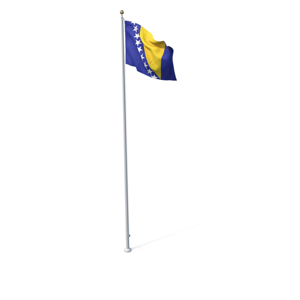 Flag On Pole Bosnia and Herzegovina PNG & PSD Images