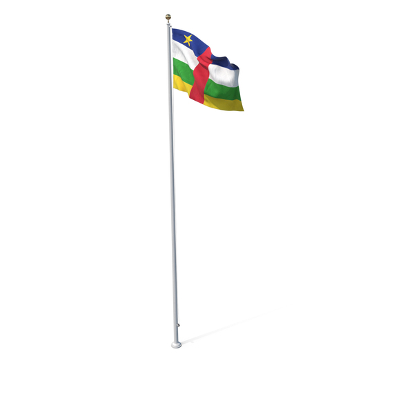 Flag On Pole Central African Republic PNG & PSD Images