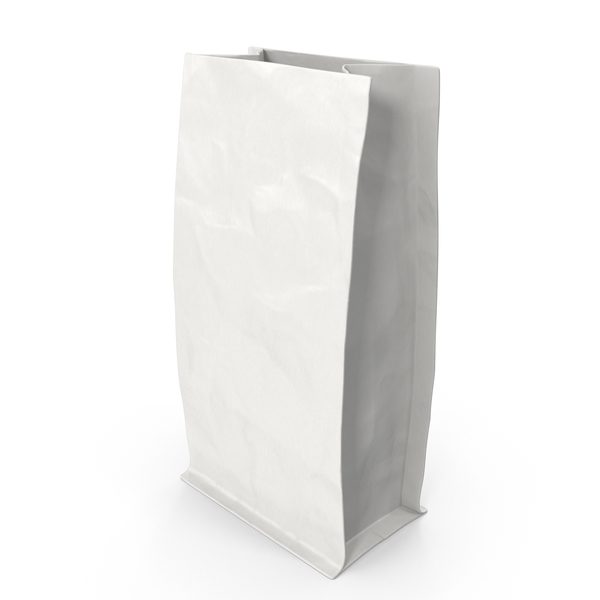 Paper Bag: Flat Bottom Pouch 113g Open White PNG & PSD Images