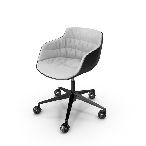 Flow Slim Chair White Leather PNG & PSD Images