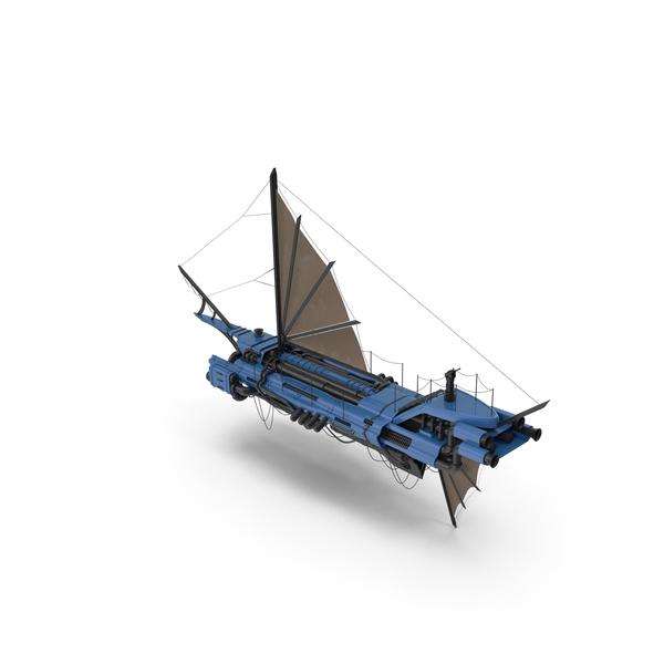 Airship: Flying Ship Blue PNG & PSD Images