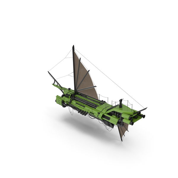 Flying Ship Green PNG & PSD Images