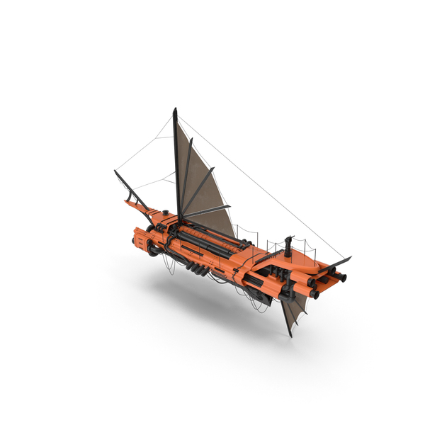 Flying Ship Orange PNG & PSD Images