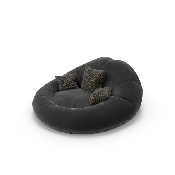 Foam Bean Bag Chair Black PNG & PSD Images