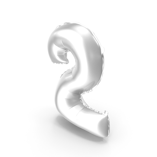 Balloons: Foil Balloon Digit Two Silver PNG & PSD Images