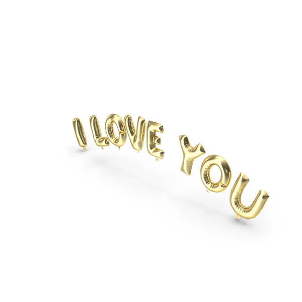 Roman Alphabet: Foil Balloon Gold Words I Love You PNG & PSD Images