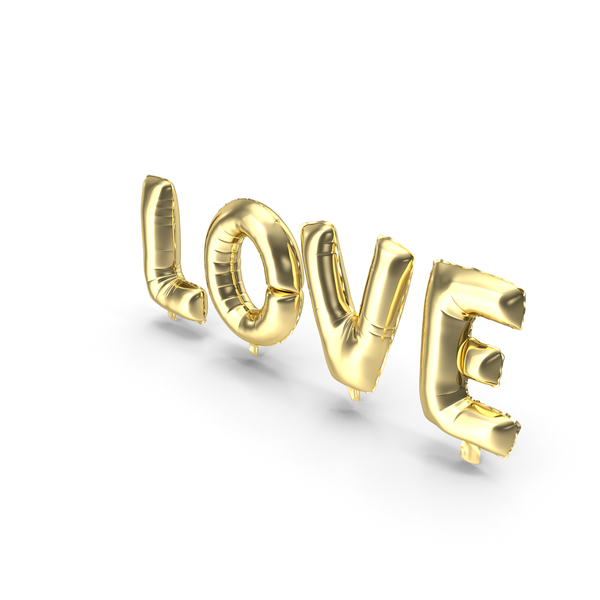 Valentine's Balloons: Foil Balloon Gold Words Love PNG & PSD Images