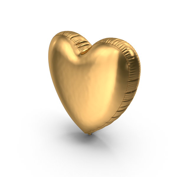 Foil Balloon Heart Gold PNG & PSD Images