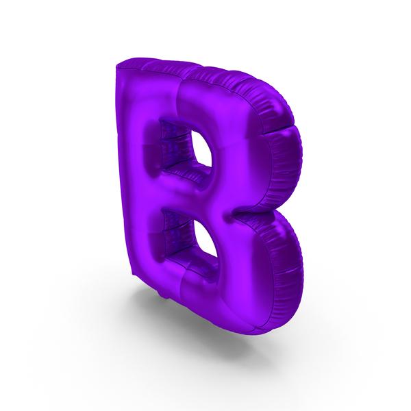 Foil Balloon Letter B Purple PNG & PSD Images