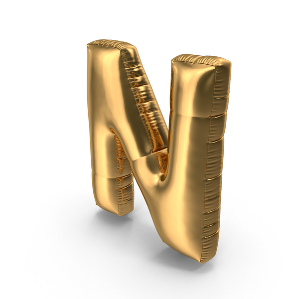 Foil Balloon Letter N Gold PNG & PSD Images