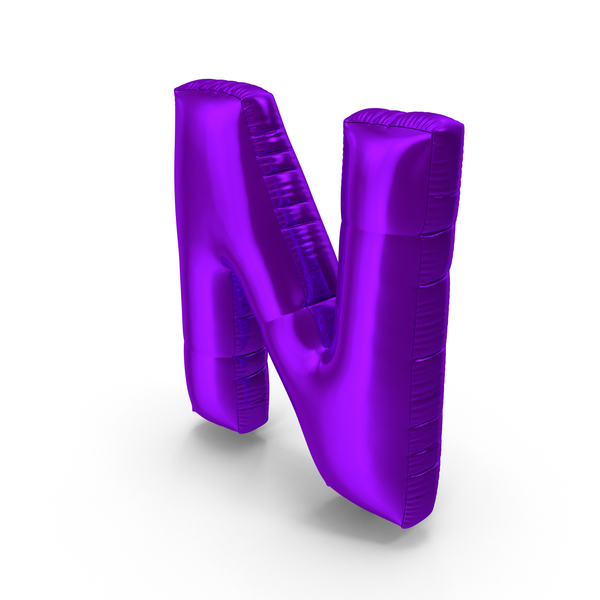 Foil Balloon Letter N Purple PNG & PSD Images