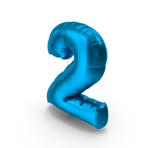 Foil Balloon Number 2 Blue PNG & PSD Images