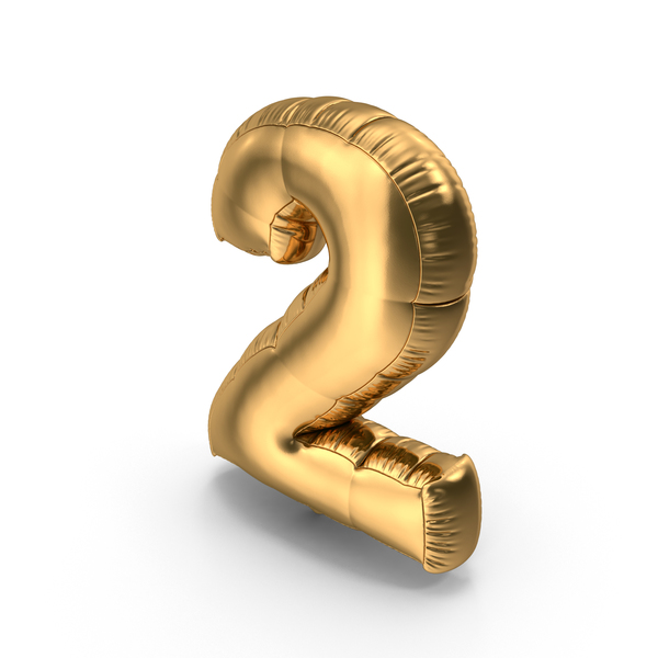 Balloons: Foil Balloon Number 2 Gold PNG & PSD Images