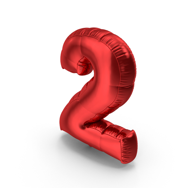 Foil Balloon Number 2 Red PNG & PSD Images