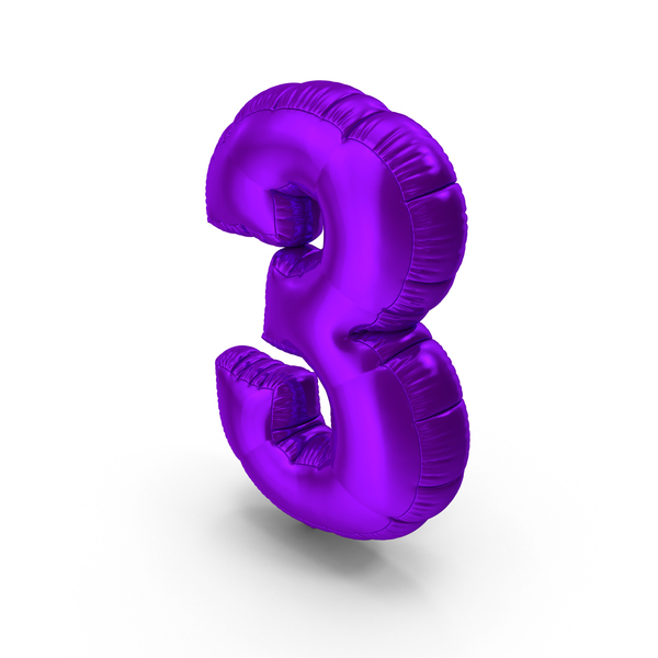 Foil Balloon Number 3 PNG & PSD Images