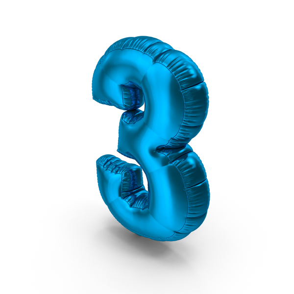 Foil Balloon Number 3 Blue PNG & PSD Images