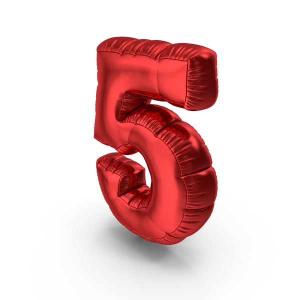 Foil Balloon Number 5 PNG & PSD Images