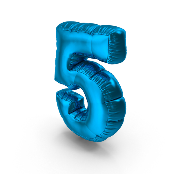 Foil Balloon Number 5 Blue PNG & PSD Images