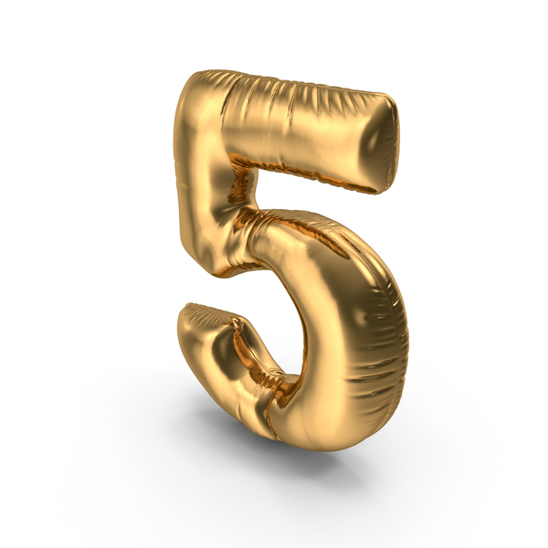 Foil Balloon Number 5 Gold PNG & PSD Images