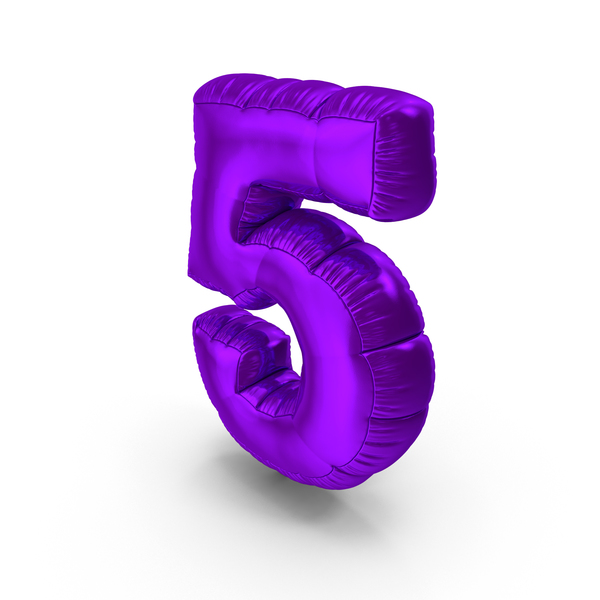 Balloons: Foil Balloon Number 5 Purple PNG & PSD Images
