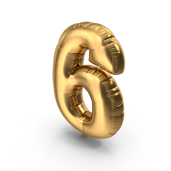 Foil Balloon Number 6 Gold PNG & PSD Images