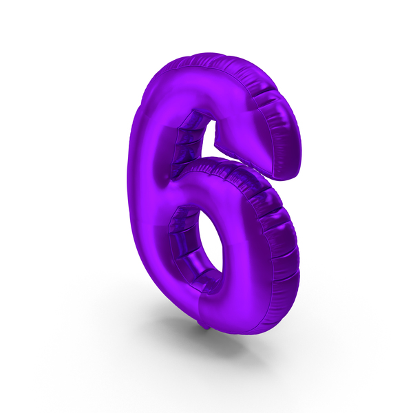 Balloons: Foil Balloon Number 6 Purple PNG & PSD Images