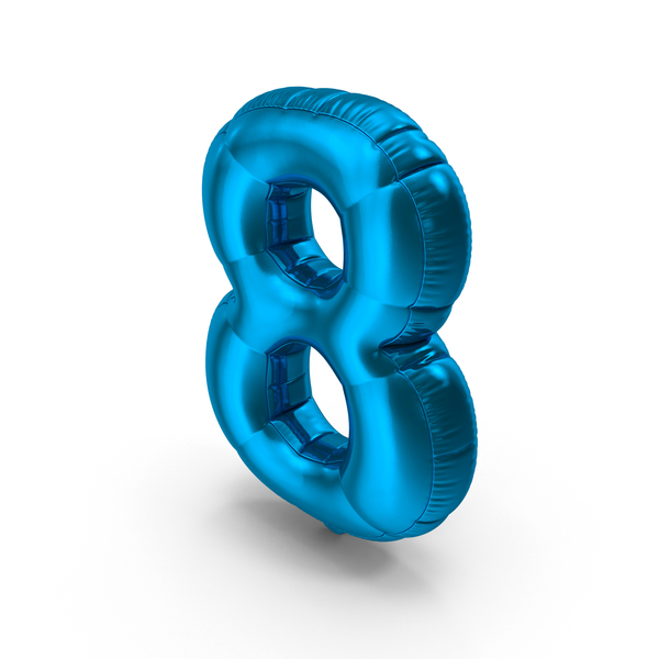 Foil Balloon Number 8 Blue PNG & PSD Images