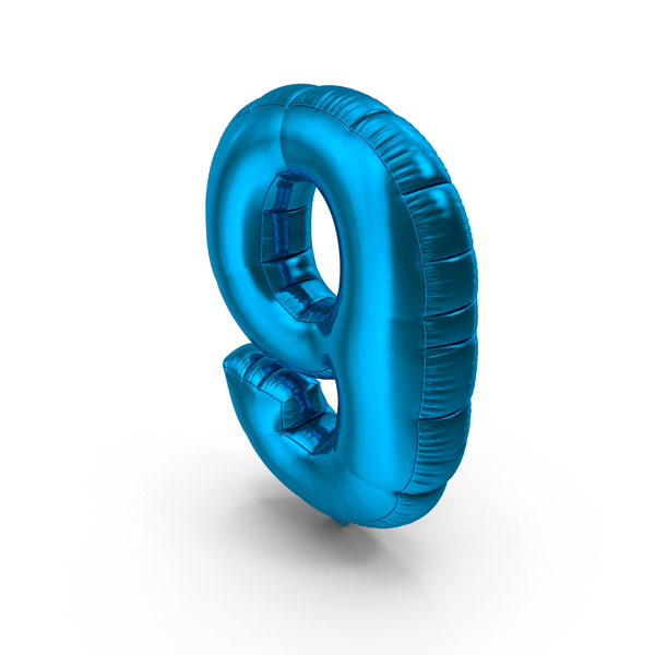 Foil Balloon Number 9 Blue PNG & PSD Images