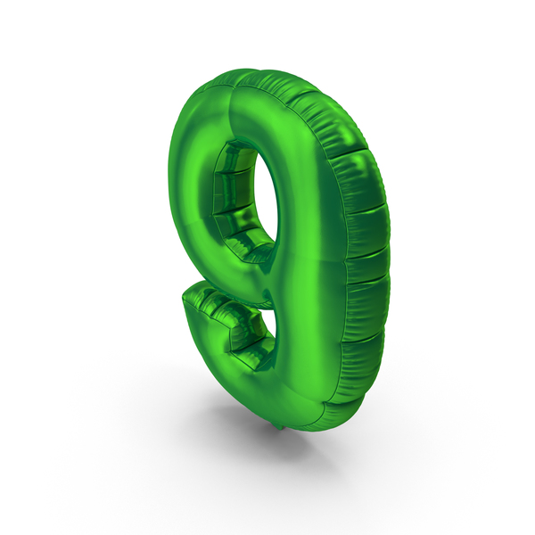 Foil Balloon Number 9 Green PNG & PSD Images
