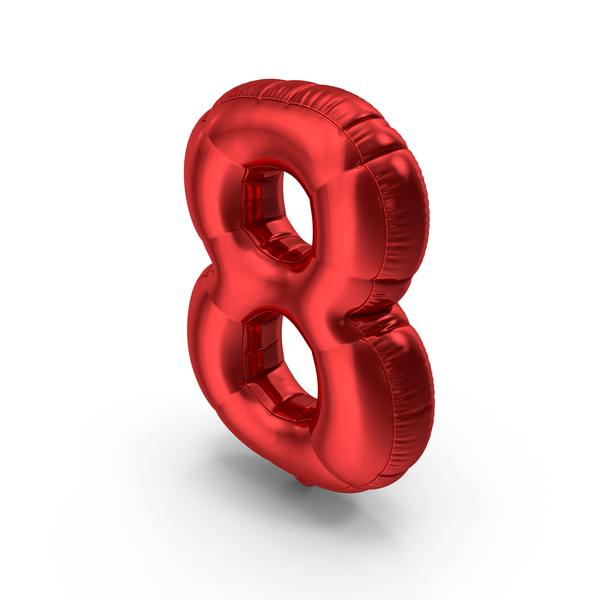 Foil Balloon Number8 Red PNG & PSD Images