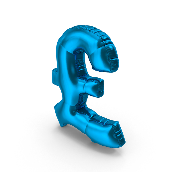 Foil Balloon Pound Blue PNG & PSD Images