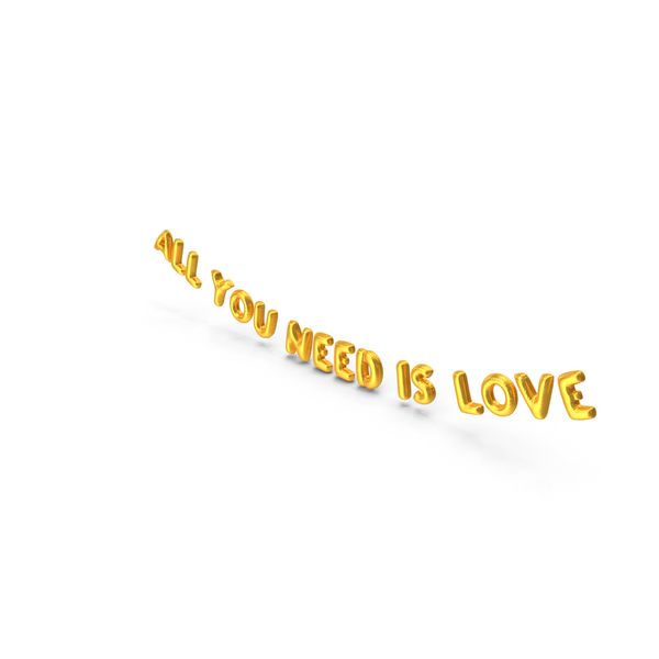 Balloons: Foil Balloon Words All You Need is Love Gold PNG & PSD Images