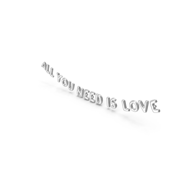 Balloons: Foil Balloon Words All You Need is Love Silver PNG & PSD Images